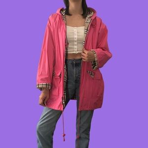 Bubblegum pink poly rain jacket